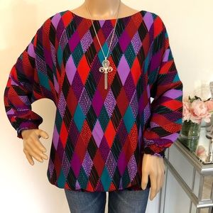 Bob Mackie Wearable Art Long Sleeve Blouse